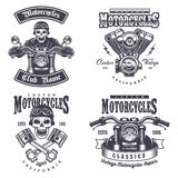 Set of vintage motorcycle emblems. Labels, badges, logos and design elements. Monochrome style Royalty Free Stock Photos