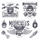 Set of vintage motorcycle emblems Royalty Free Stock Photography
