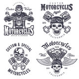 Set of vintage motorcycle emblems. Labels, badges, logos and design elements. Monochrome style Royalty Free Stock Image