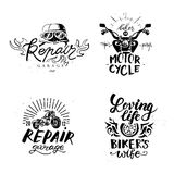 Set of vintage motorcycle emblems, labels, badges, Stock Images