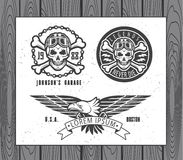 Set of vintage motorcycle labels Royalty Free Stock Images