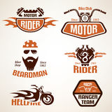 Set of vintage motorcycle labels Royalty Free Stock Photo