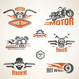 Set of vintage motorcycle labels. Badges and design elements Royalty Free Stock Photography