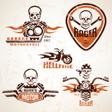 Set of vintage motorcycle labels, badges and design elements wit Royalty Free Stock Image