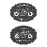 Set of vintage motorcycle labels. Cafe racer Royalty Free Stock Image