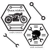 Set of vintage motorcycle labels. Old school design, cafe racer labels Stock Image