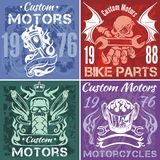 Set of vintage motorcycle labels. Vector stpck Stock Image