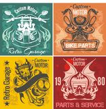 Set of vintage motorcycle labels. Vector stpck Royalty Free Stock Photo
