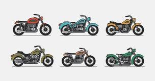Set vintage motorcycle. Isolated on gray background stock illustration