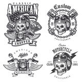 Set of Vintage motorcycle  t-shirt prints. Emblems, labels, badges and logos. Monochrome style. Isolated on white background Stock Photo