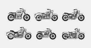 Set vintage motorcycles silhouettes. Set vintage motorcycles black silhouettes. isolated on gray background Royalty Free Stock Image