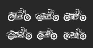 Set vintage motorcycles silhouettes Royalty Free Stock Photo