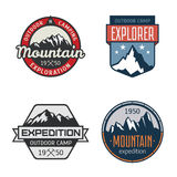 Set of vintage mountain outdoor labels Royalty Free Stock Photo