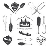 Set of vintage mountain, rafting, kayaking, paddling, canoeing c. Amp logo, labels and badges. Illustration in vector Royalty Free Stock Photo