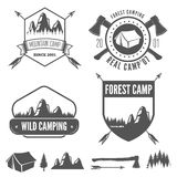 Set of vintage mountains or forest camp badges and Stock Photography