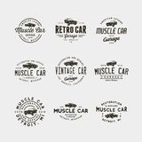 Set of vintage muscle car garage logos. vector illustration. Set of vintage muscle car garage logos. retro vehicle emblems, badges, design elements, logotype Royalty Free Stock Photos
