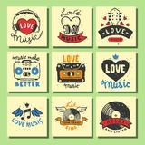 Set of vintage musical cards hand drawn templates love musical elements for design vector illustration. Hipster recording insignia concert audio stamp Royalty Free Stock Photography