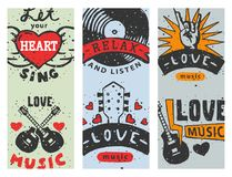 Set of vintage musical cards hand drawn templates love musical elements for design vector illustration. Hipster recording insignia concert audio stamp Royalty Free Stock Images
