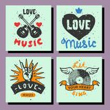 Set of vintage musical cards hand drawn templates love musical elements for design vector illustration. Hipster recording insignia concert audio stamp Royalty Free Stock Image