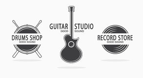 Set of vintage musical instrument logos. Vector Royalty Free Stock Image