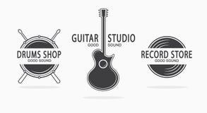 Set of vintage musical instrument logos. Vector vector illustration