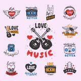 Set of vintage musical labels hand drawn templates love musical elements for design vector illustration. Hipster recording insignia concert audio stamp Royalty Free Stock Photography