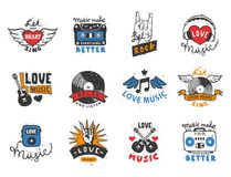 Set of vintage musical labels hand drawn templates love musical elements for design vector illustration. Hipster recording insignia concert audio stamp Stock Image