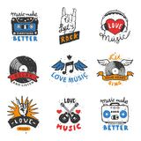 Set of vintage musical labels hand drawn templates love musical elements for design vector illustration. Hipster recording insignia concert audio stamp Royalty Free Stock Image