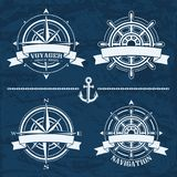 Set of vintage nautical design elements Royalty Free Stock Photos