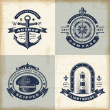 Set of vintage nautical labels Stock Photo