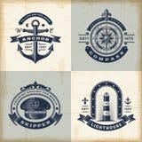 Set of vintage nautical labels royalty free illustration