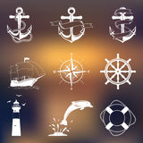 Set of vintage nautical labels, icons and design Stock Photo