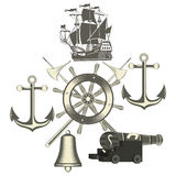 Set of vintage nautical labels, icons and design elements Royalty Free Stock Image