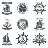 Set of vintage nautical labels, icons and design elements Royalty Free Stock Photos