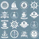 Set of vintage nautical labels, icons and design elements Stock Image