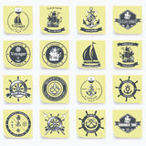 Set of vintage nautical labels, icons and design Stock Images