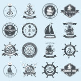 Set of vintage nautical labels, icons and design elements. Stock Image