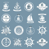 Set of vintage nautical labels, icons and design elements. Royalty Free Stock Photo