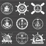 Set of vintage nautical labels, icons and design elements. Stock Images