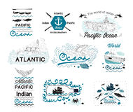 Set of Vintage Nautical Labels Logos  and elements for design Stock Images