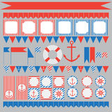 Set of vintage nautical party elements. Printable set of vintage nautical party elements. Templates, labels, icons and wraps Royalty Free Stock Photo