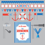 Set of vintage nautical party elements. Printable set of vintage nautical party elements. Templates, labels, icons and wraps Stock Image
