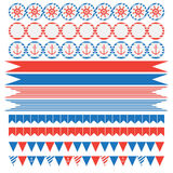 Set of vintage nautical party elements Stock Photo