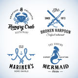 Set of Vintage Nautical Sea Labels with Retro. Typography. Good for Seafood Restaurant or Cafe, Marina, Sail Crew, etc Royalty Free Stock Image