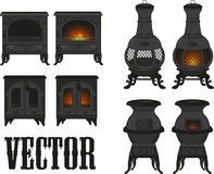 Set of vintage (old) cast iron mantles with realis Royalty Free Stock Photos