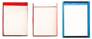 Set Vintage Open Blank Page Notebook. Old Blue Paper Notepad Stock Images