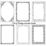 Set of vintage ornamental borders. Decorative vintage retro frames, borders Stock Images