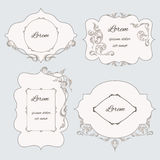 Set vintage ornamental frame, labels Stock Photography