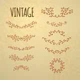 Set of vintage ornaments for design of cards, invitations. Stock Photo