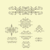 Set of vintage ornaments for invitation, congratulation and greeting card Stock Images